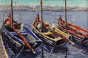 Ivan Sutton (b.1944), Galway Hookers, Berthed at Carraroe Pier, Co. Galway at Morgan O'Driscoll Art Auctions