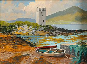 John Francis Skelton (b.1954), Croke Patrick and Grace O'Malley's Castle, Mayo at Morgan O'Driscoll Art Auctions