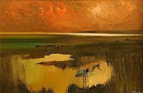 Cecil Maguire RHA RUA (1930-2020), Heron, Corrib Shore at Morgan O'Driscoll Art Auctions