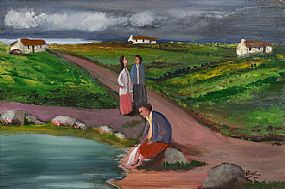 Jimmy Bingham (1925-2009), Paddling in a Brook at Morgan O'Driscoll Art Auctions
