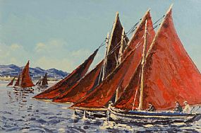 Ivan Sutton (b.1944), Galway Hookers Racing in Roundstone Bay, Co Galway at Morgan O'Driscoll Art Auctions