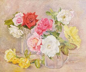 Geraldine M. O'Brien (b.1922), Still Life, Roses at Morgan O'Driscoll Art Auctions
