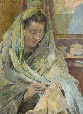 Grace Henry HRHA (1868-1953), A Stitch in Time at Morgan O'Driscoll Art Auctions