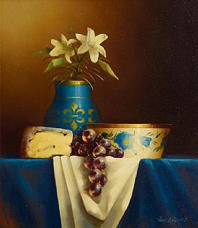 David Ffrench Le Roy (b.1971), Still Life with Blue Vase of Lillies at Morgan O'Driscoll Art Auctions