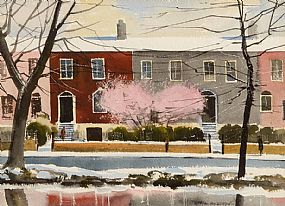John Skelton Snr (1923-2009), Spring Snow on the Canal, Mespil Road Dublin, 1986 at Morgan O'Driscoll Art Auctions