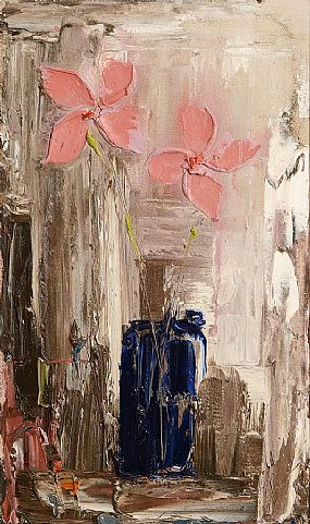 Colin Flack (20th/21st Century), Pink Flowers in Blue vase at Morgan O'Driscoll Art Auctions
