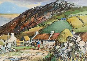 Kenneth Webb RWA FRSA RUA (b.1927), Cottages Atlantic Drive, Co Donegal at Morgan O'Driscoll Art Auctions