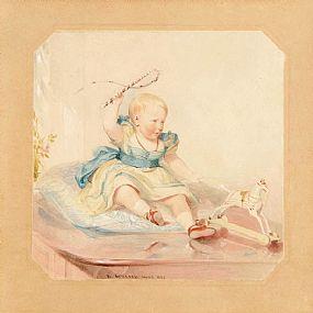 Daniel Maclise RA (1806-1870), Young Girl at Play at Morgan O'Driscoll Art Auctions