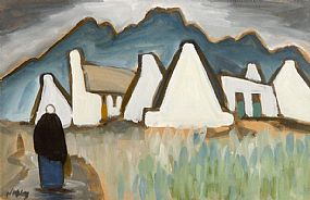 Markey Robinson (1918-1999), Figure and White Gables on Achill at Morgan O'Driscoll Art Auctions