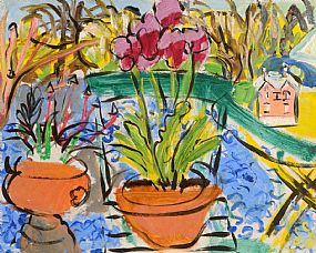 Elizabeth Cope (b.1952), Potted Tulips, Blue Gravel, Pink Minature House, Shankill at Morgan O'Driscoll Art Auctions