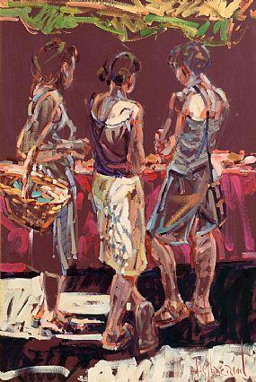 Arthur K. Maderson (b.1942), Three Figures, The Friday Market, Gange France at Morgan O'Driscoll Art Auctions