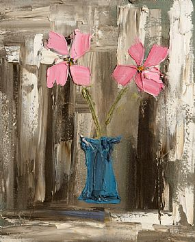 Colin Flack (20th/21st Century), Pink Flowers in a Blue Vase at Morgan O'Driscoll Art Auctions