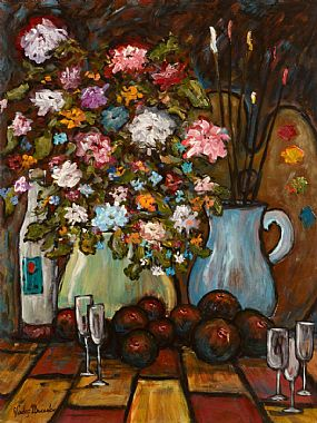 Gladys MacCabe ROI FRSA MA HRUA (1918-2018), Still Life with Flowers, Fruit and Paint Brushes at Morgan O'Driscoll Art Auctions
