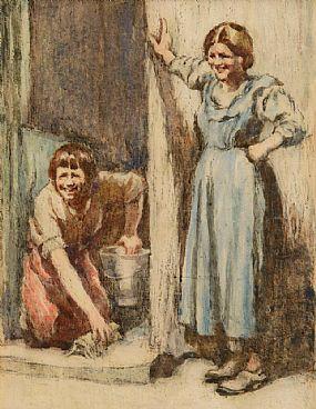 William Conor RHA RUA ROI (1881-1968), Local Banter on a Sunny Morning at Morgan O'Driscoll Art Auctions