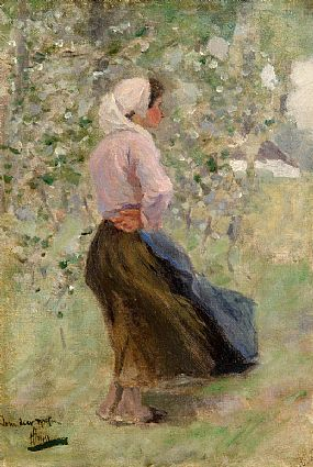 Circle of Henry Herbert La Thangue (1859-1929), Profile of a Young Lady at Morgan O'Driscoll Art Auctions