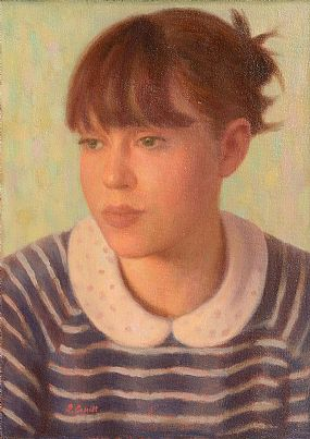 James Cahill (20th/21st Century), Girl in Striped Top at Morgan O'Driscoll Art Auctions