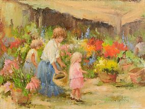 Elizabeth Brophy (20th/21st Century), The Flower Market at Morgan O'Driscoll Art Auctions