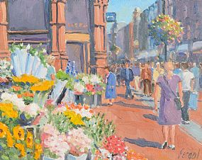 Fergal Flanagan (b.1948), Flower Sellers Grafton Street at Morgan O'Driscoll Art Auctions
