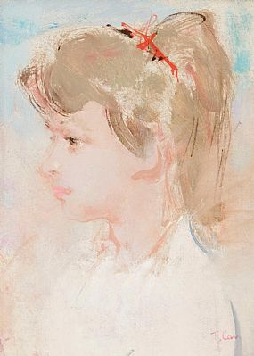 Tom Carr HRHA HRUA ARWS (1909-1999), Girl With Red Ribbon at Morgan O'Driscoll Art Auctions