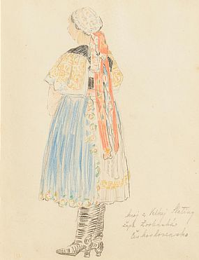 Mary Swanzy HRHA (1882-1978), National Dress - Blue, Yellow and Red at Morgan O'Driscoll Art Auctions