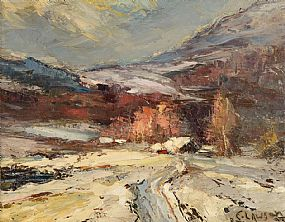 Ernest Lawson, An Impressionistic Winter Scene with Mountainous Homestead Engulfed in Snow Drifts at Morgan O'Driscoll Art Auctions