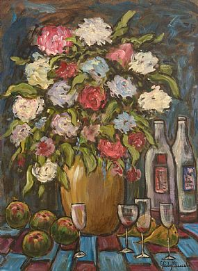 Gladys MacCabe, Still Life - Fruit, Flowers and Wine at Morgan O'Driscoll Art Auctions