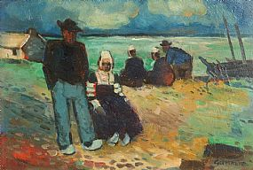 Reginald William Gammon, Figures by the Shore, Brittany at Morgan O'Driscoll Art Auctions