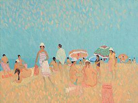 Desmond Carrick, Girl in Stripped Dress on Beach, Spain at Morgan O'Driscoll Art Auctions