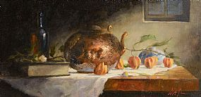 Mat Grogan, Still Life, Copper Kettle and Fruit at Morgan O'Driscoll Art Auctions