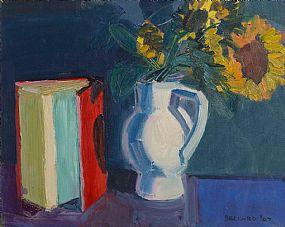 Brian Ballard, Red Book and Sunflowers at Morgan O'Driscoll Art Auctions
