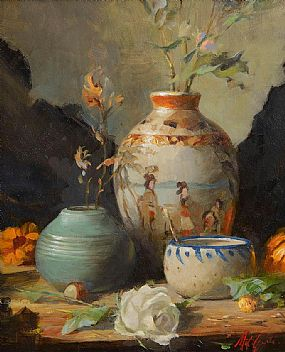 Mat Grogan, Still Life with Chinese Vase at Morgan O'Driscoll Art Auctions