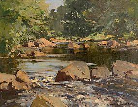 Maurice Canning Wilks, Reflections, Dun River, Cushendun, Co. Antrim at Morgan O'Driscoll Art Auctions