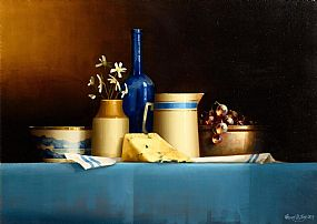 David Ffrench Le Roy, Still Life with Blue Bottle and Stilton Cheese (2013) at Morgan O'Driscoll Art Auctions