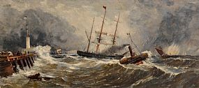 John Callow, A French Paddlewheel Tug Bringing an English Sailing Vessel to the Jetty at Boulogne (c.1860) at Morgan O'Driscoll Art Auctions