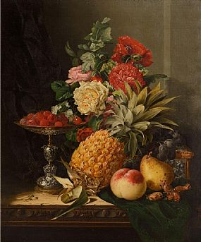 Edward Ladell, Still Life with a Pineapple, Roses, Carnations, Cob Nuts, Peaches, a Pear, Black Grapes, Raspberries on a Parcel Gilt Tazza with a Parcel Gilt Casket on a Table at Morgan O'Driscoll Art Auctions