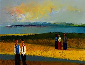 Daniel O'Neill, Foreshore with Figures at Morgan O'Driscoll Art Auctions