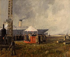 James Humbert Craig, Driving the First Pile, Belfast at Morgan O'Driscoll Art Auctions