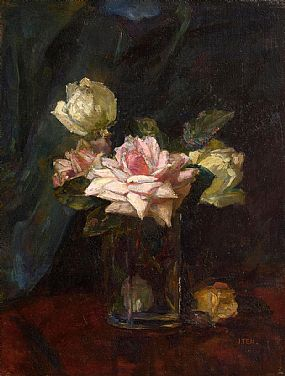 Hans Iten, Still Life - Roses in a Glass Vase at Morgan O'Driscoll Art Auctions