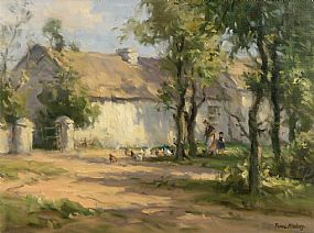 Frank McKelvey, Feeding Chickens at the Back of the House at Morgan O'Driscoll Art Auctions