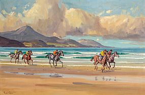 Robert Taylor Carson, Racing on Glenbeigh Strand (1975) at Morgan O'Driscoll Art Auctions