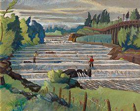 Harry Kernoff, Men Fishing, West River Falls, Nova Scotia (1957) at Morgan O'Driscoll Art Auctions