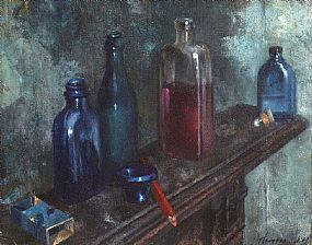 Patrick Hennessy, Still Life with Bottles at Morgan O'Driscoll Art Auctions