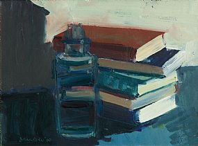 Brian Ballard, Still Life With Books and Bottle at Morgan O'Driscoll Art Auctions