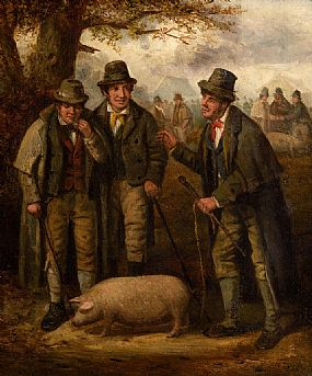 Charles Henry Cook, The Pig Market at Morgan O'Driscoll Art Auctions