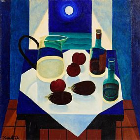 Graham Knuttel, Still Life on Tabletop in Moonlight at Morgan O'Driscoll Art Auctions