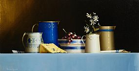 David Ffrench Le Roy, Still Life of Blue Tableware at Morgan O'Driscoll Art Auctions