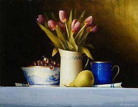 David Ffrench Le Roy, Jug of Tulips and Pear at Morgan O'Driscoll Art Auctions
