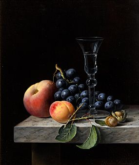 Brian Davies, Still Life - Glass, Fruit & Nuts at Morgan O'Driscoll Art Auctions