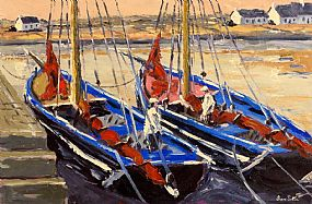 Ivan Sutton, Galway Hookers Berthed at Sruthan Pier, Carraroe, Co. Galway at Morgan O'Driscoll Art Auctions