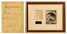 John F. Kennedy, Keep Working Diane - and We'll Win, John F. Kennedy (1960) at Morgan O'Driscoll Art Auctions